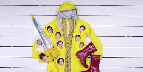 Yellow, Outerwear, Jacket, Raincoat, Hood, Costume, Coat,