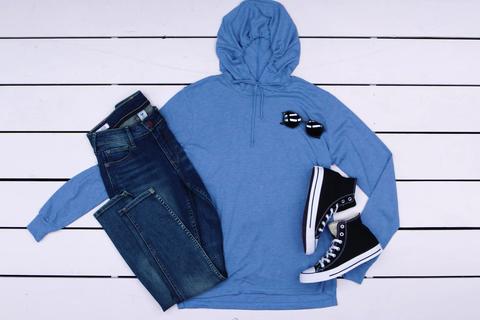 Hoodie, Hood, Clothing, Blue, Outerwear, Jacket, Sleeve, Sweatshirt, Jersey,