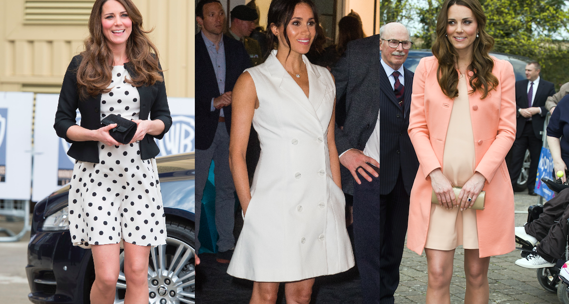 Why Meghan Markle And Kate Middleton Wear Short Dresses When They Re Pregnant Reason Meghan Markle And Kate Middleton Shorten Hemline When Pregnant