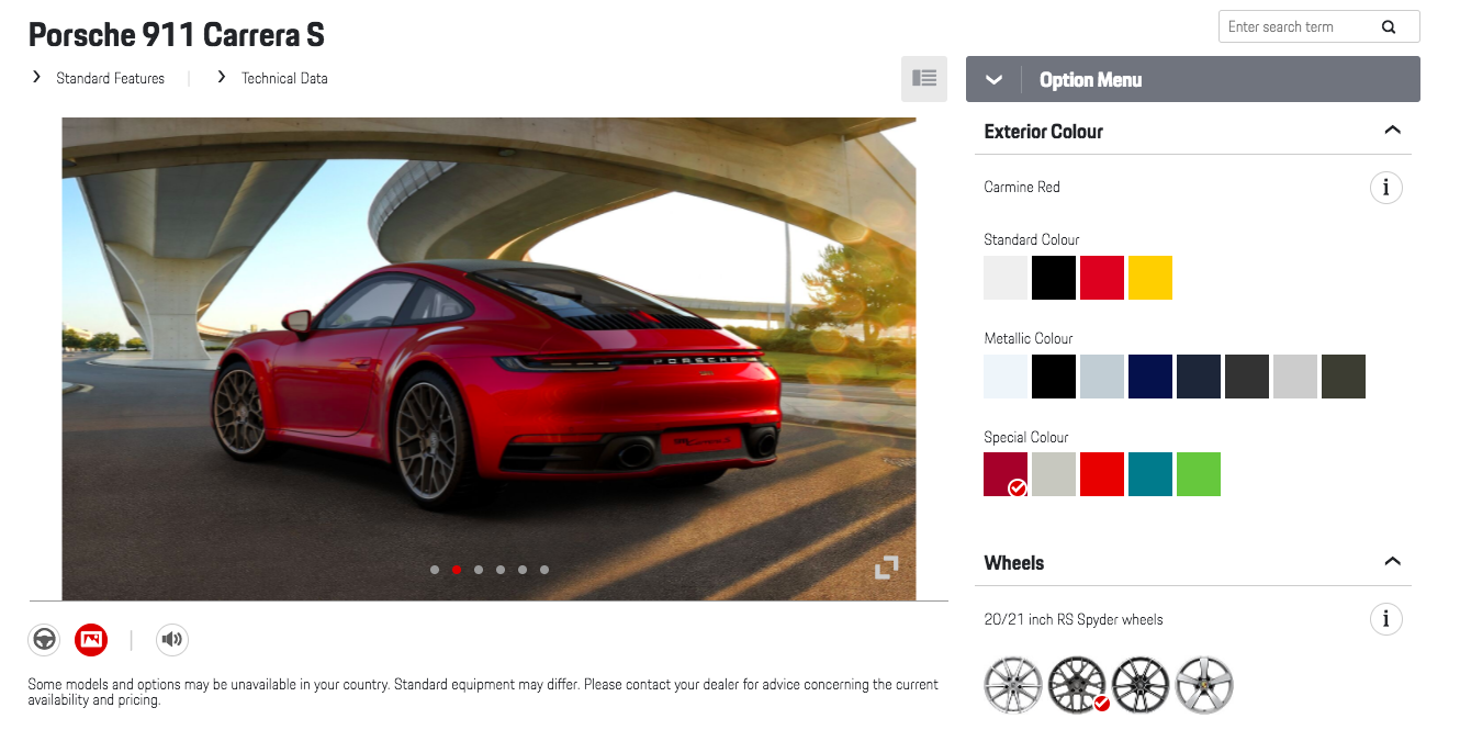 Porsche 911 992 Online Configurator Custom Build Your New 2020 911 Right Here