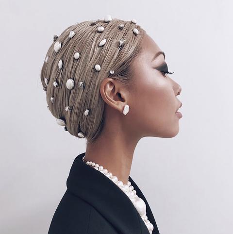 Hair, Hairstyle, Headpiece, Head, Hair accessory, Fashion accessory, Headgear, Chignon, Bun, Long hair,