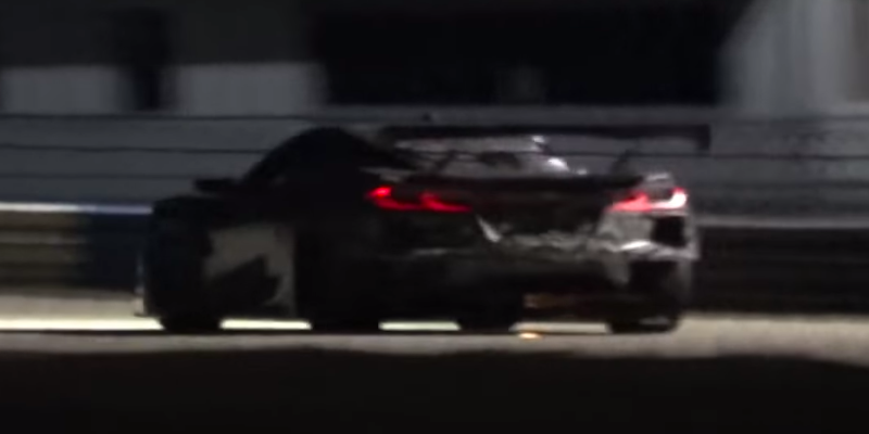 Mid-Engine Corvette Race Car Spotted Night Testing - New C8.R Shooting Flames at Sebring