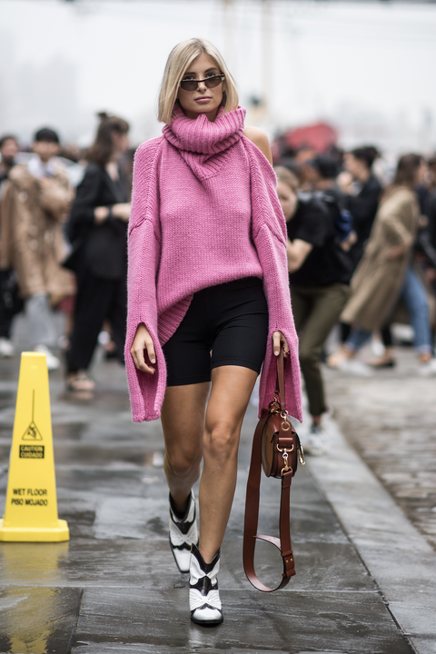 Fashion, Fashion model, Pink, Street fashion, White, Clothing, Fashion show, Beauty, Footwear, Human leg,
