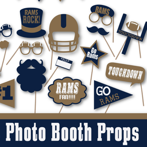 Super Bowl Rams Photo Booth Props