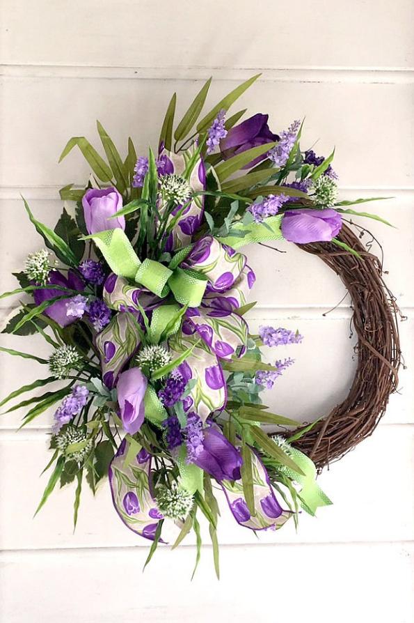 Purple Tulips Wreath Spring Valentine's Day