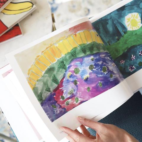 Watercolor paint, Child art, Leaf, Illustration, Paper, Hand, Paint, Visual arts, Finger, Art,
