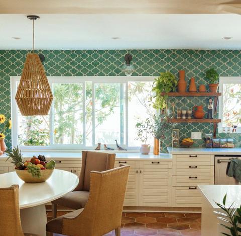 Room, Interior design, Green, Kitchen, Curtain, Window treatment, Ceiling, Window valance, Furniture, Property,