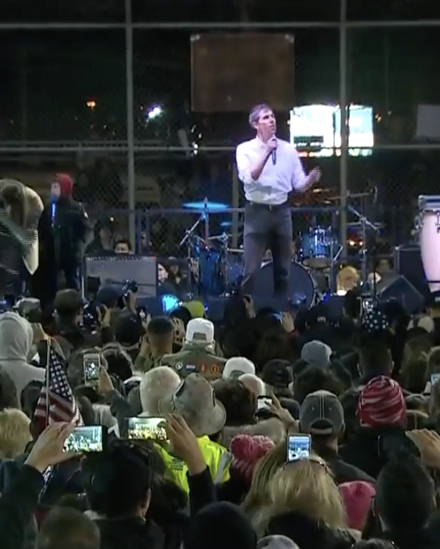 Beto O'Rourke speaks to the crowd at his rally on Monday.