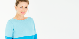 Colour block jumper knitting pattern