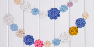 Crochet flower garland photo