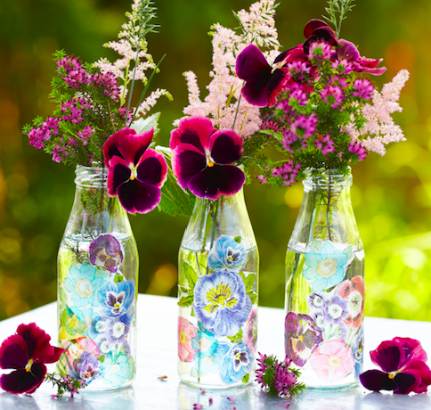 How to découpage a glass bottle to make a pretty vase