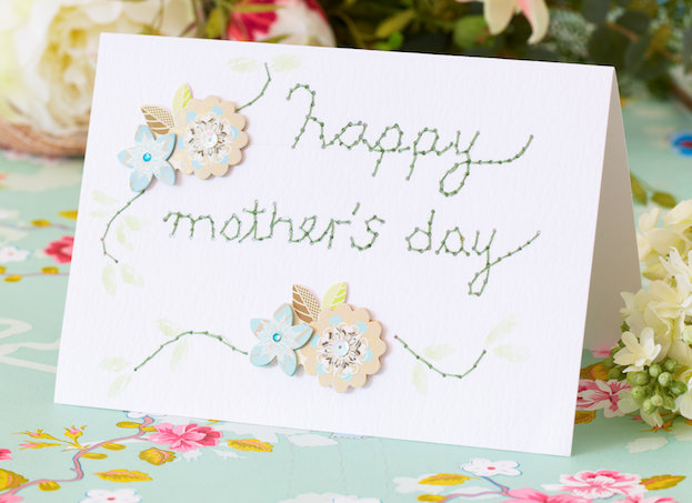 Mother's Day craftEmbroidered mothers day card