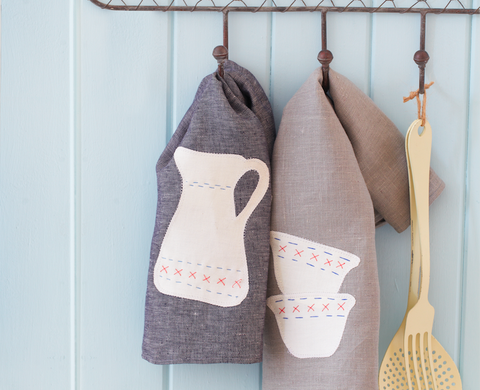 How to personalise a tea towel with embroidery