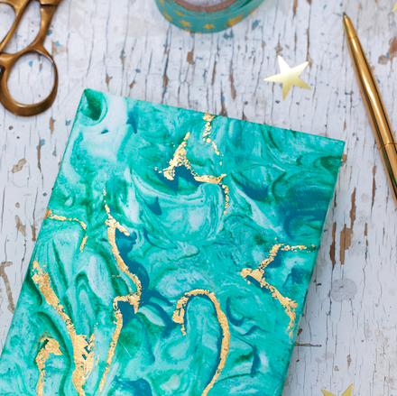 How to marble a notebook with shaving foam for Mother's Day