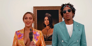 Why was there a Meghan Markle painting behind Beyoncé and Jay-Z at the Brits?