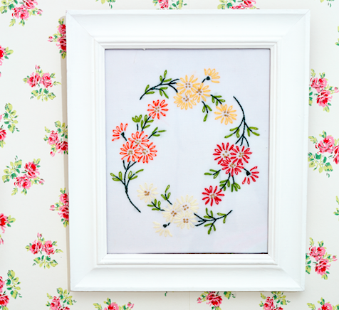 How to make a framed embroidered picture from an old tablecloth