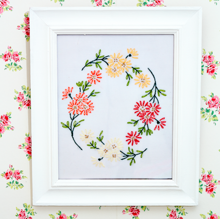 DIY gifts:embroidered pictureFramed tablecloth