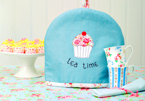 Free machine embroidery tea cosy