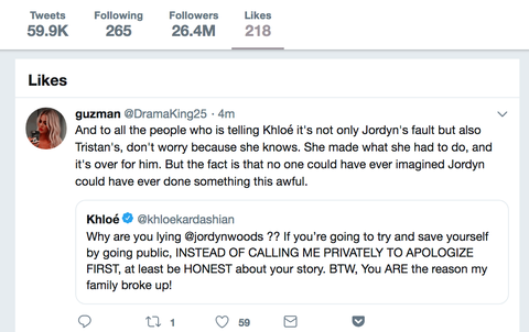 Khloé Kardashian Likes Tweets about Jordyn Woods Being
