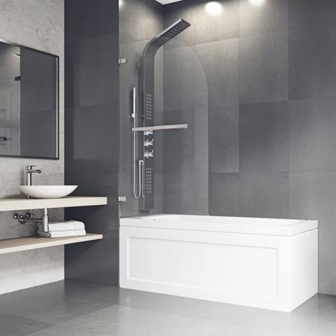 Bathroom, Room, Tile, Interior design, Floor, Tap, Plumbing fixture, Shower, Material property, Flooring,