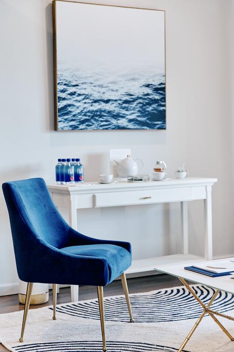 Blue, Furniture, Room, Turquoise, Interior design, Living room, Aqua, Chair, Azure, Property,