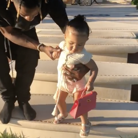 Red Range Rover >> Kylie Jenner's Daughter Stormi Carries Mini Hermès Purse