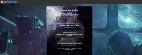 fandango avengers endgame tickets presale wait screen etc