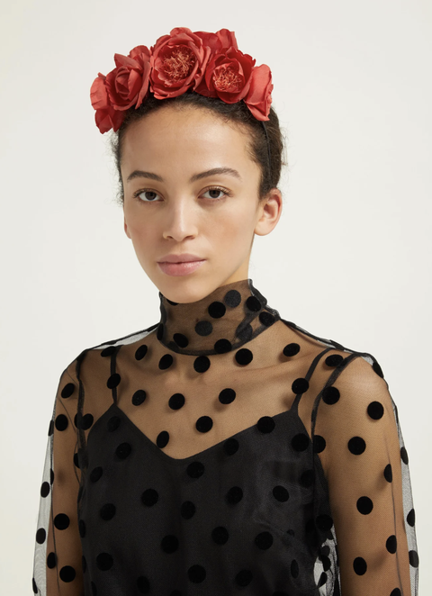 Hair, Polka dot, Red, Pattern, Hairstyle, Beauty, Hair accessory, Headpiece, Fashion, Pink,