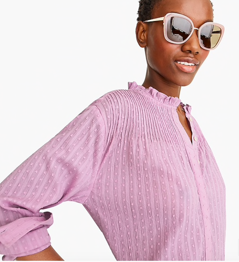 Eyewear, Clothing, Sunglasses, Shoulder, Pink, Purple, Cool, Violet, Sleeve, Outerwear,