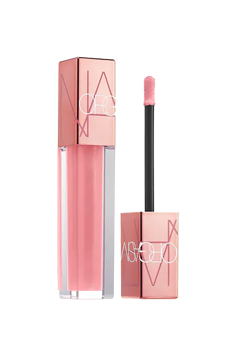 Peachy Pink NARS Orgasm Oil-Infused Lip Tint, $26 SHOP IT This bad boy does not disappoint in the shine category. The extra glossy texture is made up of raspberry seed oil and pomegranate extract, so it conditions the lips with moisture.