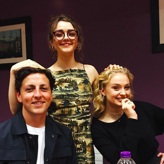 "June 9, 2018 Sophie and Maisie are both supportive of each other's significant others, too. Here, Maisie's with Sophie and her boyfriend Ollie Jackson , and she captioned the photo, ""my husband and my wife."""