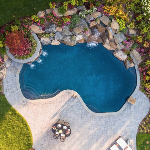garden surrounded backyard pool