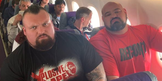 Strongman Eddie Hall Shares Funny Plane Photo With Brian Shaw