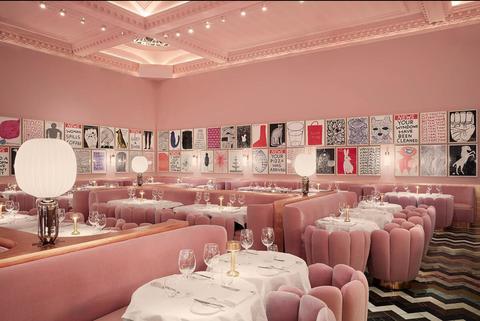 Decoration, Pink, Function hall, Interior design, Restaurant, Banquet, Room, Building, Table, Furniture,