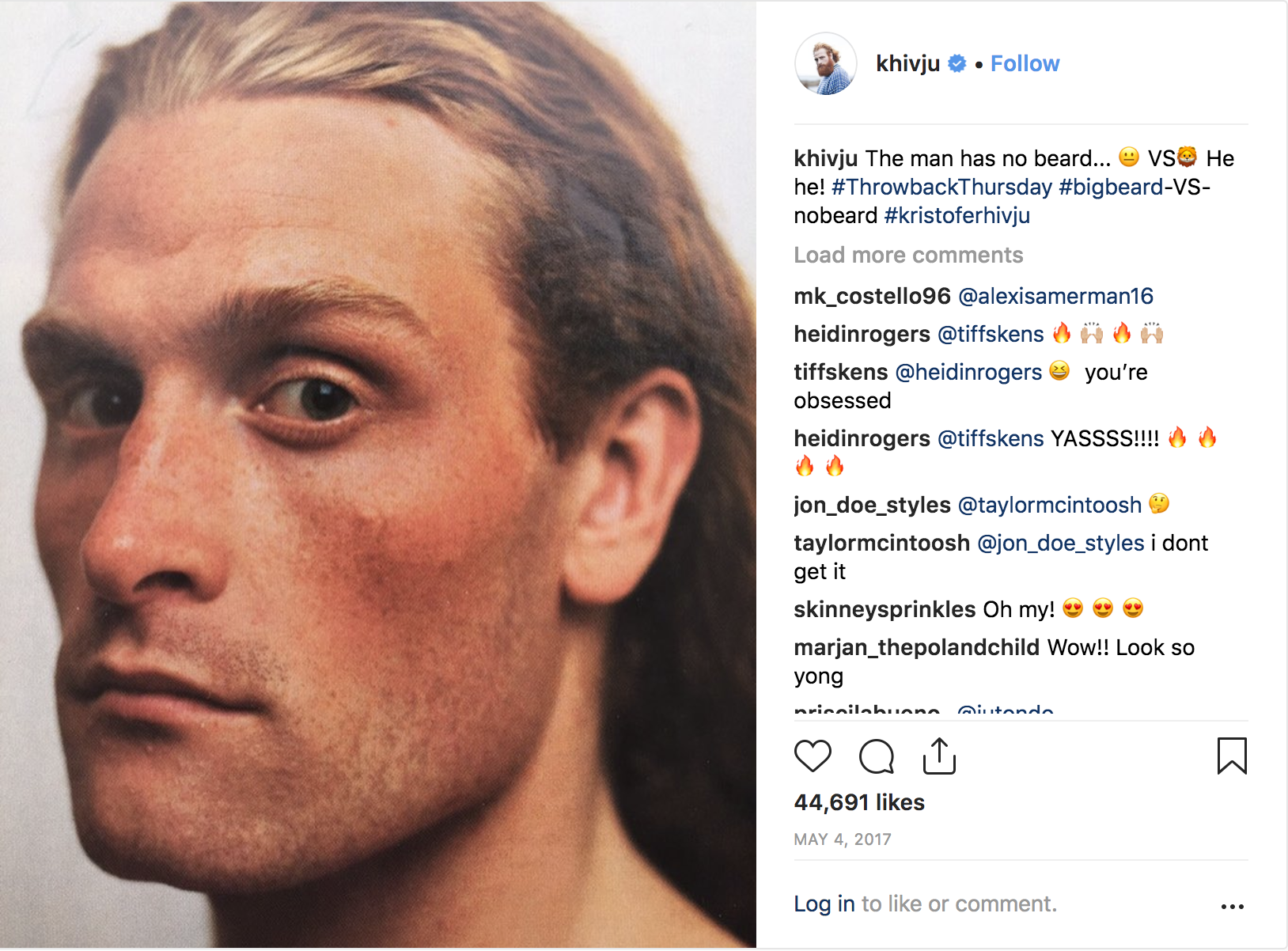 Kristofer Hivju (without beard) Hivju's Instagram post post-shave.