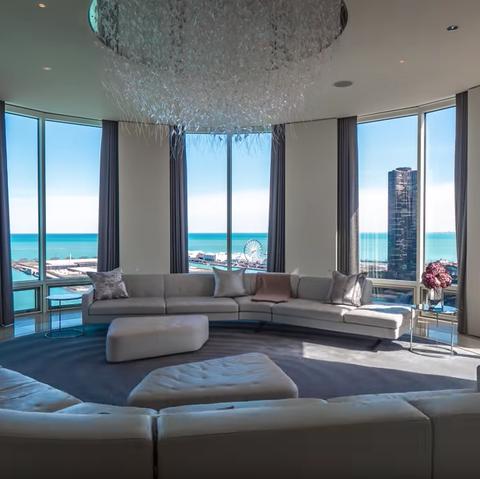 Chicago revolving living room penthouse