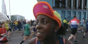 woman ran london marathon breastfeeding