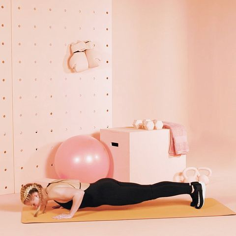 Pink, Physical fitness, Leg, Wall, Swiss ball, Sitting, Pilates, Stomach, Ball, Exercise,