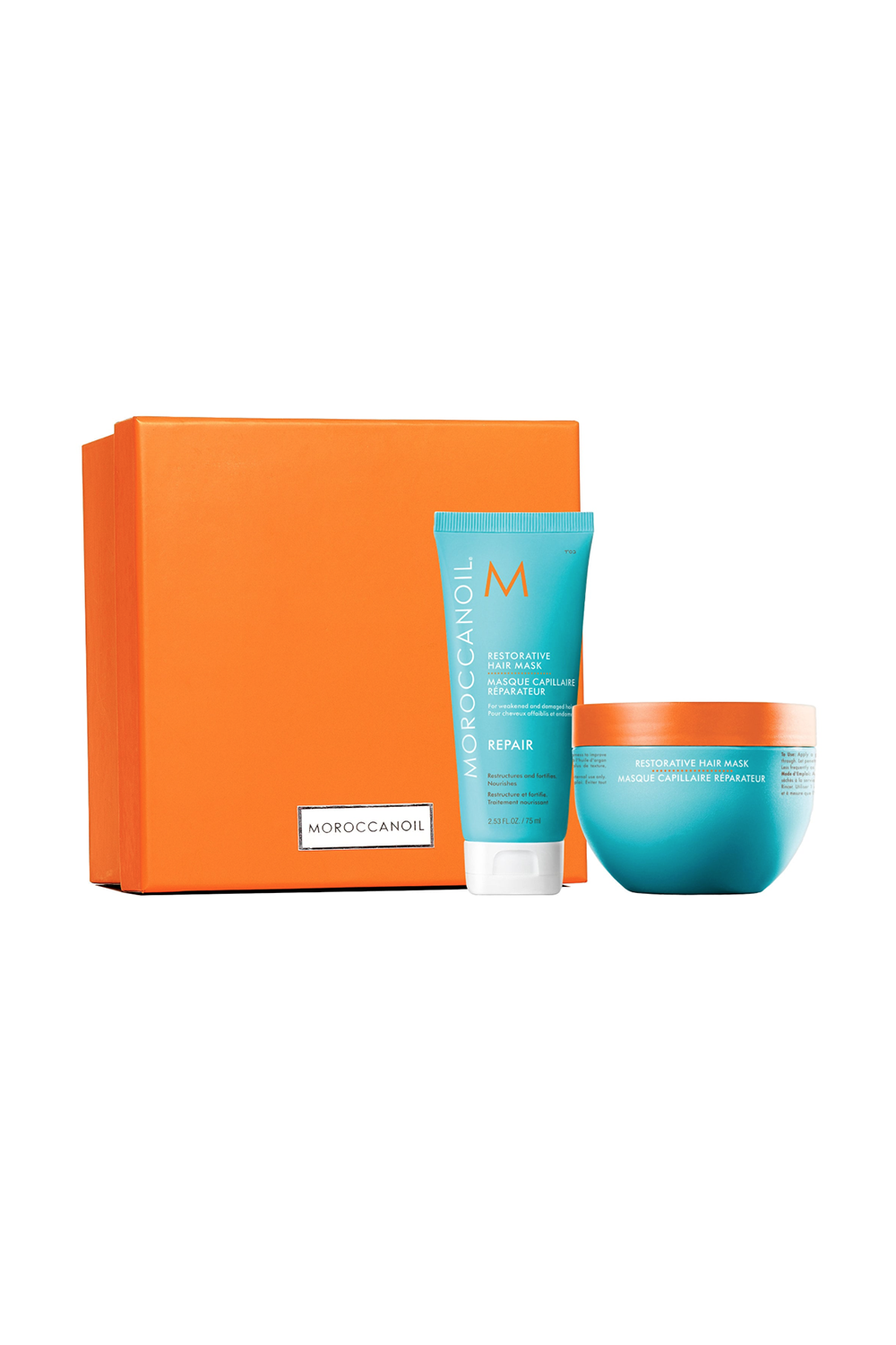 This Restorative Hair Mask Moroccanoil Home & Away Restorative Mask Duo, $48 SHOP IT Treat your hair to some TLC with this mask made of argan oil, shea butter, and caryocar brasiliense fruit oil to strengthen weak and damaged hair. Once the vitamins, antioxidants, and fatty acids settle into your cuticles, your hair will feel so soft and healthy.