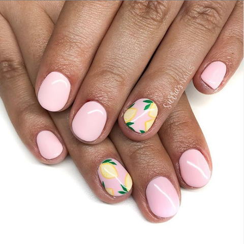 Memorial Day Nail Art - Lemon Nails