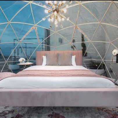 rooftop hotel glamping camping dome