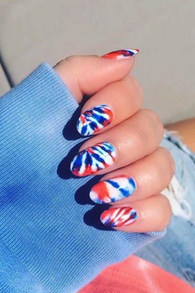 Best 4th of July Nail Art Designs - Tie Dye Nails