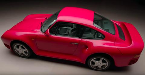 Land vehicle, Vehicle, Car, Porsche 959, Supercar, Red, Sports car, Alloy wheel, Coupé, Vehicle door,