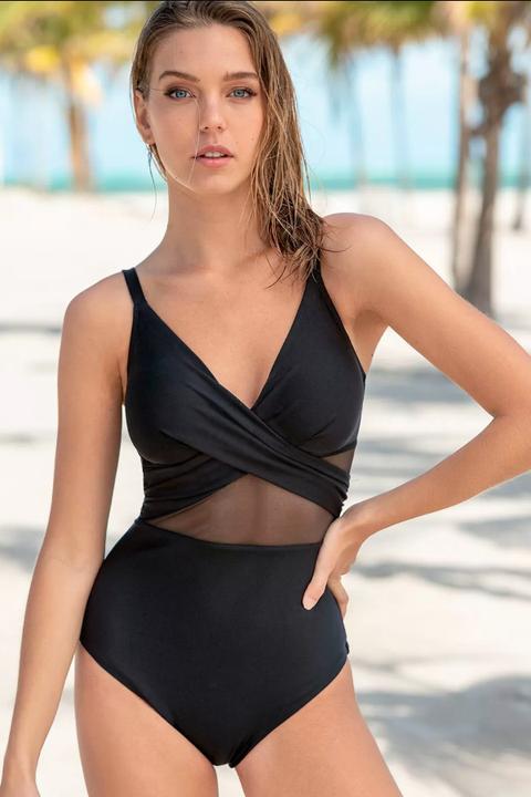 Leonisa wrap swimsuit shaping black mesh