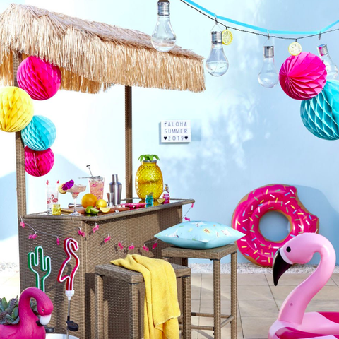 Pink, Room, Product, Yellow, Furniture, Pom-pom, Table, Interior design, Party, Textile,