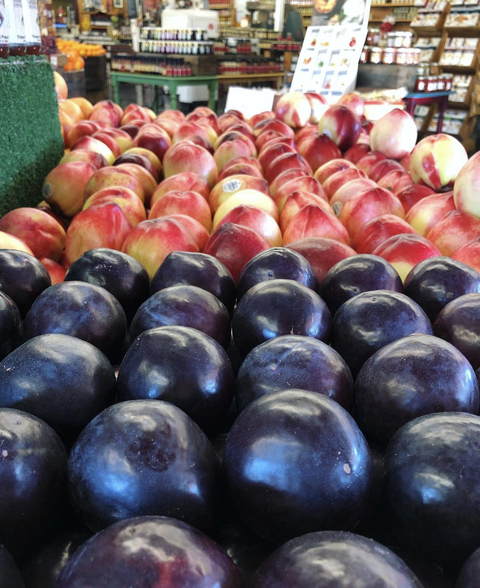 Natural foods, Local food, Fruit, European plum, Grocery store, Market, Marketplace, Food, Plant, Whole food,