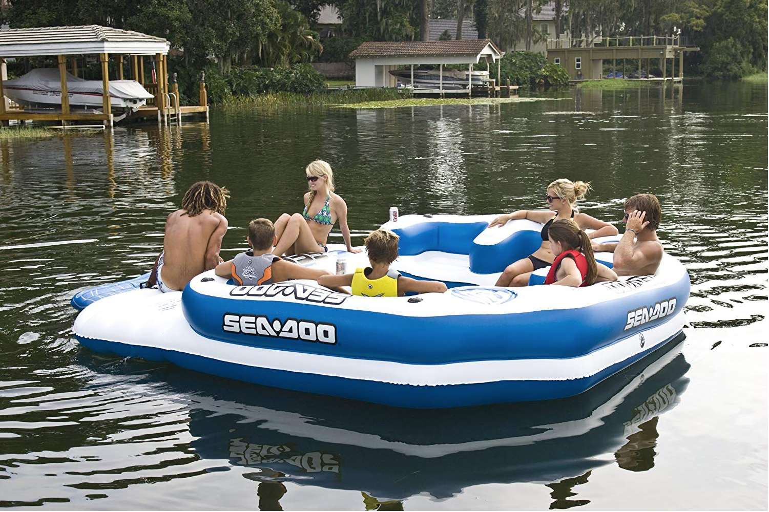 This 8-Person Mega Float Comes Equipped With a Sound System So You Can Keep the Party Going