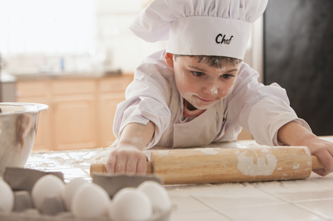 Cook, Child, Chef, Baking, Baker, Dough, Rolling pin, Cooking, Food, Chef's uniform,