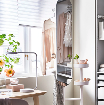 Ikea Makes A 3 In 1 Mirror That Serves As A Clothes Rack And Nightstand