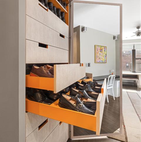 orange shoe closet